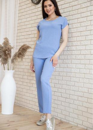 Костюм повседневный футболка и брюки цвет джинс голубой