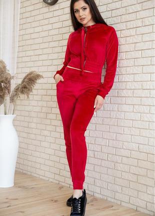 Спорт костюм женский велюровый  цвет красный с укороченным худи н