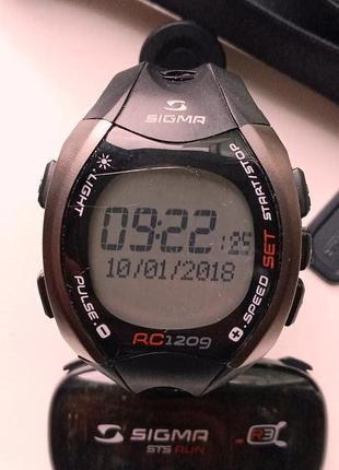 Мужские спортивные водонепроницаемые часы-пульсометр Sigma RC1209