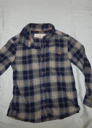 Рубашка на мальчика байковая в клетку 3-4 года 104 см l.o.g.g.