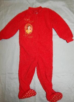 Пижама человечек слип плюшевый на девочку 2-3 года 98см
