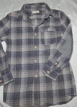 Рубашка в клетку байковая zara boys на мальчика 8 лет 128см