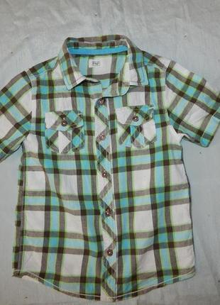Рубашка в клетку на мальчика 5-6 лет