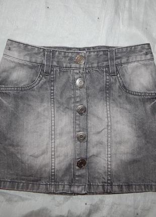 Юбка джинсовая модная на девочку 11-12 лет 152см