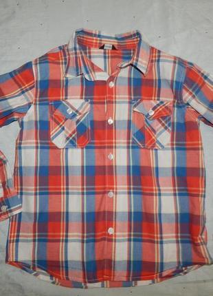 Рубашка в клетку модная на мальчика 10-11 лет
