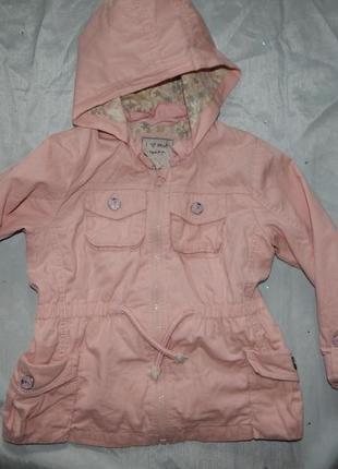 Куртка ветровка модная на девочку 3-4 года пудра 104см