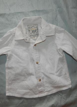Рубашка белая лен модная на малыша 6-12мес