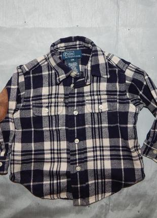 Рубашка байковая модная в клетку polo оригинал на малыша 1год ...