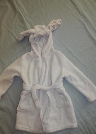 Халат банный плюшевый на малышку  18-23 мес зайчик