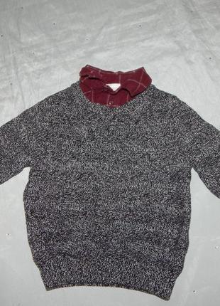 Свитер с рубашкой обманкой модный на мальчика 2-3 года 98см