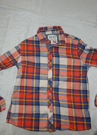 Рубашка в клетку байка модная на мальчика 5-6 лет