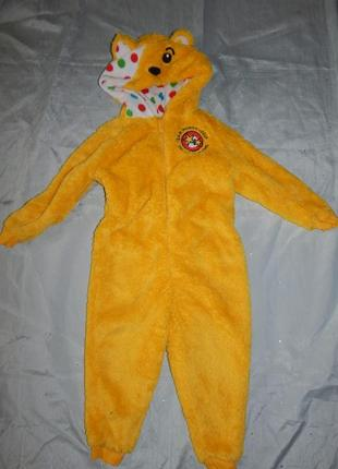 Пижама теплая человечек плюшевый домашний костюм на девочку 2-...