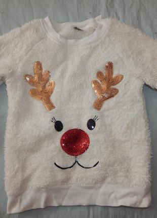 Кофта плюшевая теплая домашняя новогодняя на девочку 6 лет 116см