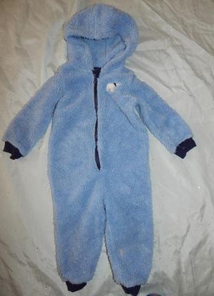 Слип пижама человечек теплый на мальчика 1,5-2 года 86-92см