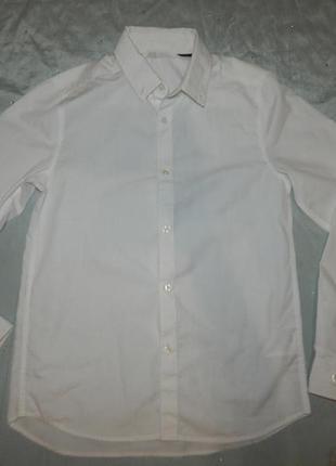 Белая рубашка длинный рукав стильная модная на мальчика 10-11 ...
