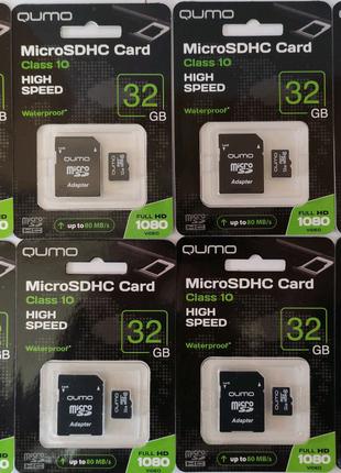 Карта памяти micro SD QUMO 32 GB Class10 + адаптер