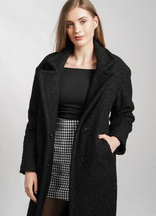 Пальто чорне зима осінь букле шерсть