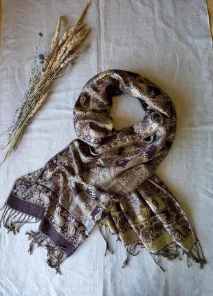 Широкий шарф палантин шерсть шелк