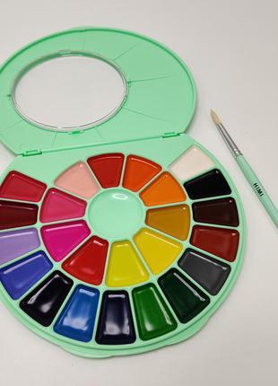 Краски акварельные HIMI акварель 24 цвета с кисточкой мятная