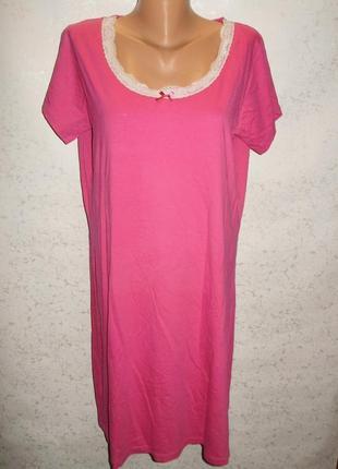 Малиновая ночная рубашка футболка с кружевом 18/52-54 размера