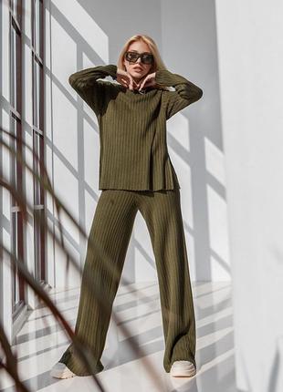Женский вязаный костюм с туники и брюк палаццо цвет хаки 2031