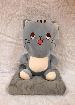 Мягкая игрушка с пледом кот (игрушка+подушка+плед) 110*160 см ...