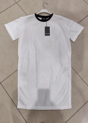 👑♥️final sale 2019 ♥️👑  белое прозрачное платье футболка в рубчик