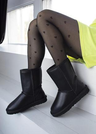 ✳️угги✳️высокие кожаные чёрные женские зимние уги/сапоги с мехом
