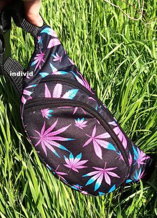 Модная сумка принт листья. бананка на пояс. рюкзак на плечо. м...