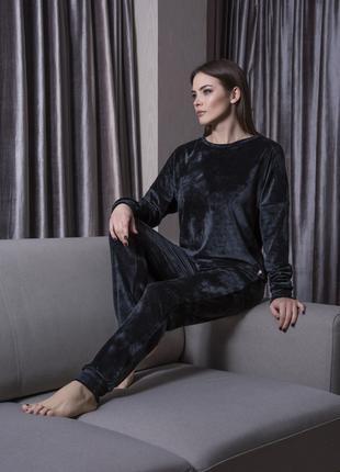 Черная пижама теплая женская одежда для сна женская пижама