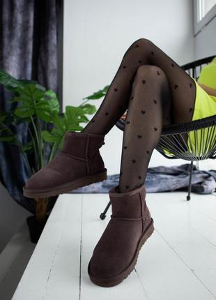 ✳️угги✳️стильные коричневые женские угги, с мехом сапоги