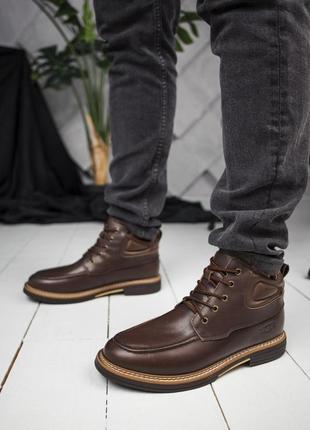 💠мужские угги💠коричневые кожаные ботинки-уги с мехом. ugg