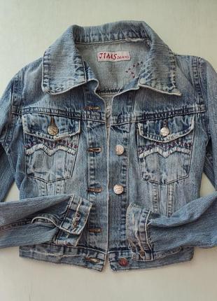 Укороченная джинсовая куртка, джинсовка с вышивкой, рост 164