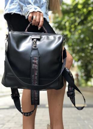 Сумка-рюкзак искусственная кожа черного цвета