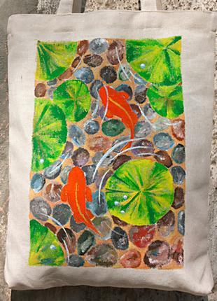 Сумка для покупок (шоппер)  32х38 см с ручной росписью