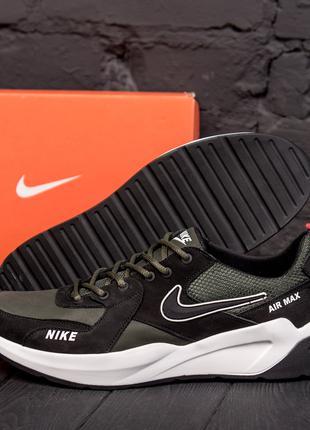 Мужские Кожаные Кроссовки Nike Olive AIR MAX
