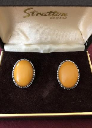 Серьги серебро янтарь королевский, в идеале