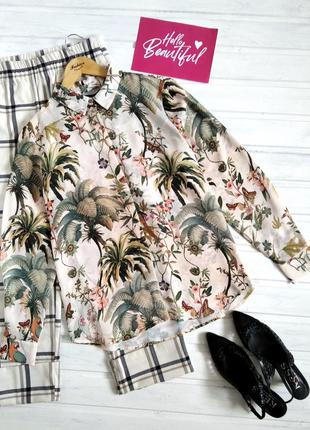 Шифоновая блуза в тропический принт, рубашка