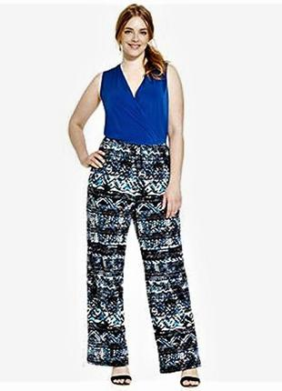 Комбинезон батал на кулиске : верх яркий синий, брюки в принт ...