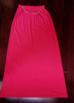 Красивая, летняя, коралловая юбка в пол.