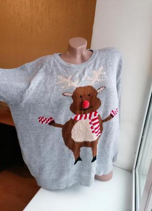 Серый новогодний свитер олень рудольф рождество батал большой ...