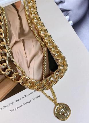Ожерелье чокер цепочка золотистая многослойная с подвеской монета
