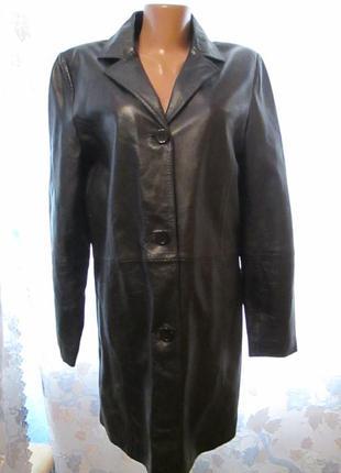 Кожаный пиджак - плащ цвет черного шоколада