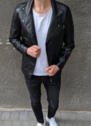 Мужская куртка косуха из экокожи