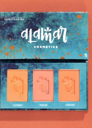 Палетка румян colorete blush trio от alamar, 8 гр