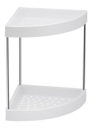 2-ярусная полочка пластиковая для ванной комнаты угловая с бортик
