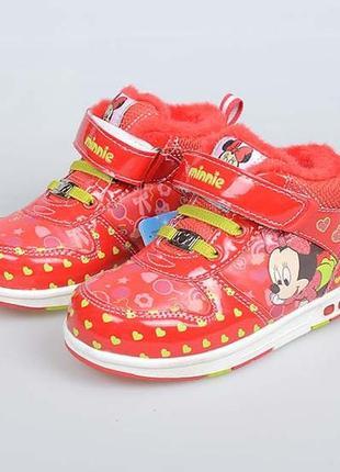 Disney minnie утепленные детские кроссовки, размер 25