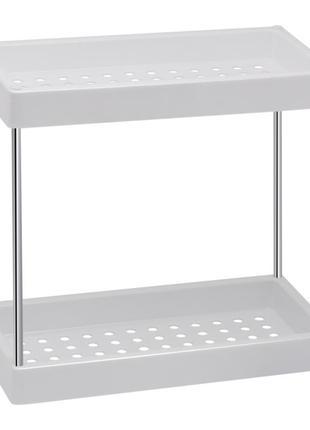 Настенная полочка в ванную 2-ярусная пластиковая Lidz белая. Полк