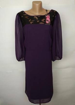 Платье шифоновое фиолетовое кружевная кокетка большой размер u...