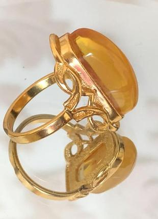 Кольцо ссср, янтарь, позолота
